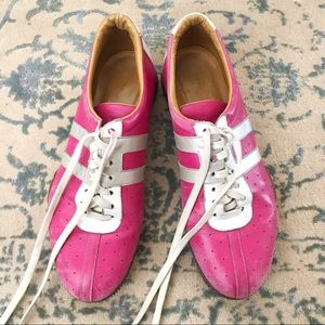 BALLY pink leather and wood sneakers